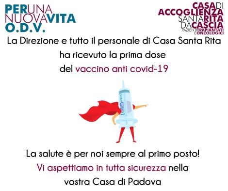La Direzione e tutto il personale di Casa Santa Rita ha ricevuto la prima dose del vaccino anti covid-19